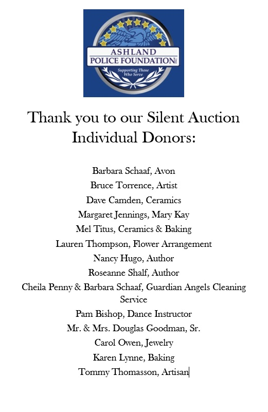 Police Ball Silent Auction Donors
